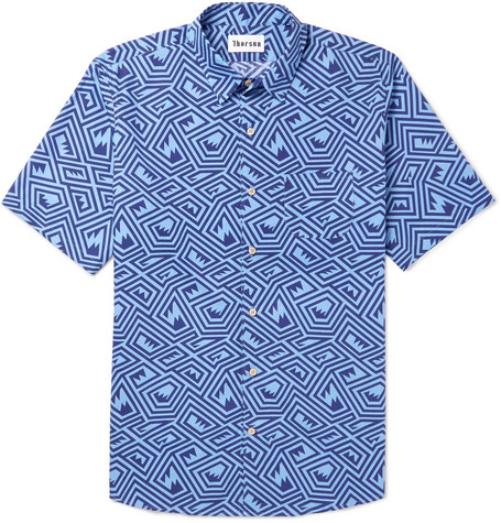 Maze Printed Cotton Shirt - Blue