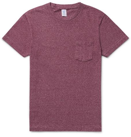 Slim-fit Mélange Cotton-blend Jersey T-shirt - Burgundy