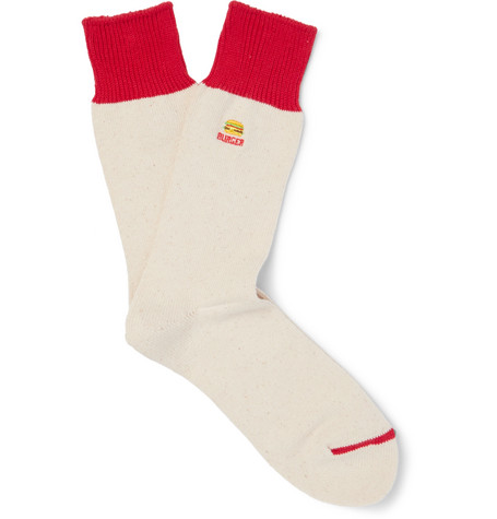 Anonymous Ism Burger-embroidered Cotton-blend Socks In Red