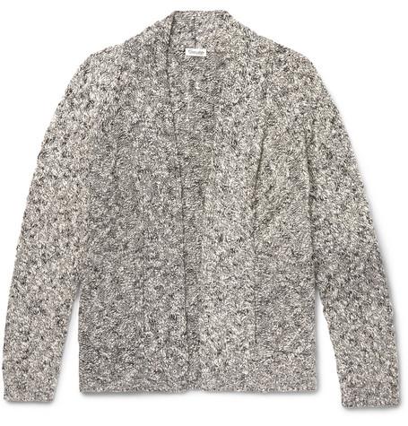 Mélange-knit Cardigan - Gray