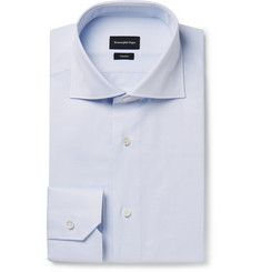 Ermenegildo Zegna Light-Blue Pin-Dot Cotton-Poplin Shirt