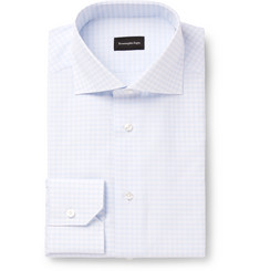 Ermenegildo Zegna Light-Blue Gingham Cotton Shirt