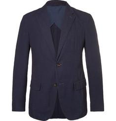 Zegna Navy Cotton-Seersucker Blazer,Navy