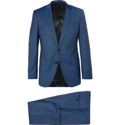 Hugo Boss Blue Huge Genius Slim-Fit Mélange Super 120s Virgin Wool Suit
