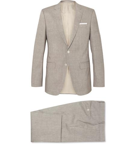 8c976bda Hugo Boss Mushroom Huttson Gander Slim-Fit Linen And Virgin Wool-Blend Suit