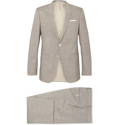 Hugo Boss - Mushroom Huttson Gander Slim-Fit Linen and Virgin Wool-Blend Suit