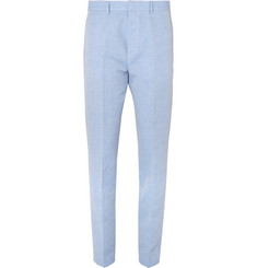 Hugo Boss Light-Blue Priko Linen and Cotton-Blend Trousers