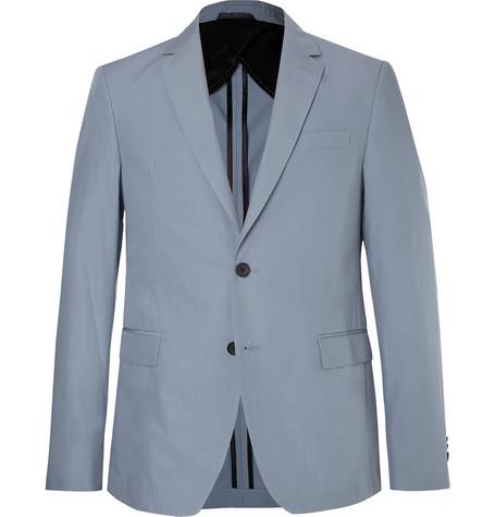 24fd6847 Hugo Boss - Light-Blue Nobis Slim-Fit Cotton-Poplin Suit Jacket