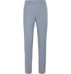Hugo Boss Light-Blue Genesis Slim-Fit Cotton-Poplin Suit Trousers