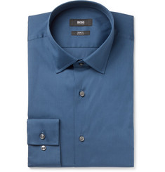 Hugo Boss Jenno Navy Slim-Fit Cotton-Blend Shirt