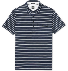 Hugo Boss Striped Cotton-Jersey Polo Shirt