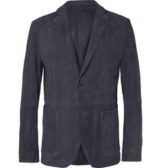 Hugo Boss Navy Nelias Slim-Fit Suede Blazer