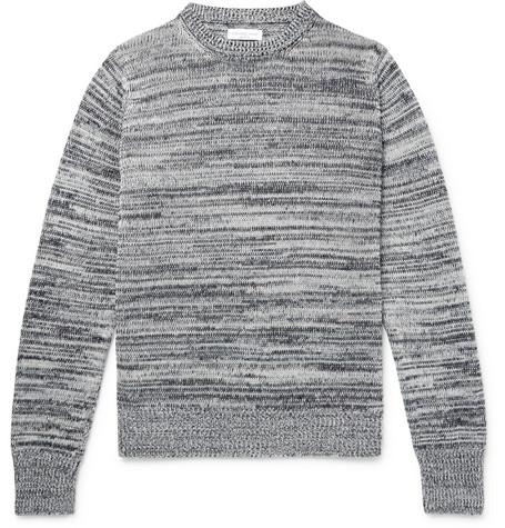 Richard James MÉlange Linen And Cotton-blend Weater - Gray