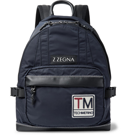 Ermenegildo Zegna Leather-Trimmed Shell Backpack In Navy