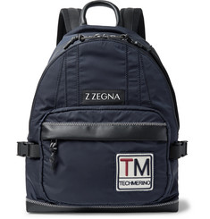 Z Zegna - Leather-Trimmed Shell  Backpack