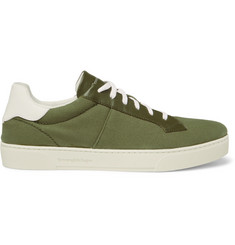 Ermenegildo Zegna Vulcanizzato Flex Leather-Trimmed Canvas Sneakers