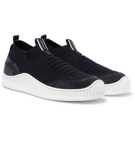 Suede, Leather And Techmerino Mesh Slip-on Sneakers - NavyErmenegildo Zegna