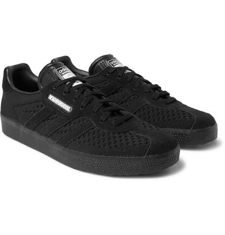 adidas Consortium - Neighborhood Gazelle Primeknit and Suede Sneakers - Black