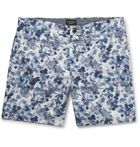 Club Monaco Baxter Slim-fit Printed Linen And Cotton-blend Twill Shorts - Blue