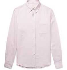 Club Monaco Button-Down Collar Puppytooth Slub Linen Shirt