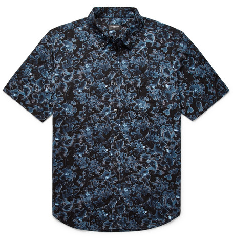 Slim Fit Button Down Collar Floral Print Cotton Shirt by Club Monaco