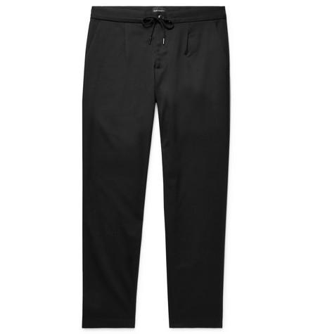 CLUB MONACO Slim-fit Pleated Stretch-twill Drawstring Trousers - Black rZizjMkx
