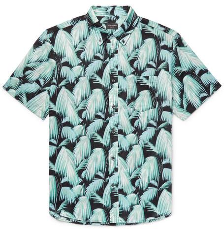 f8153da1dbe Club Monaco Slim-Fit Button-Down Collar Palm-Print Cotton Shirt - Blue