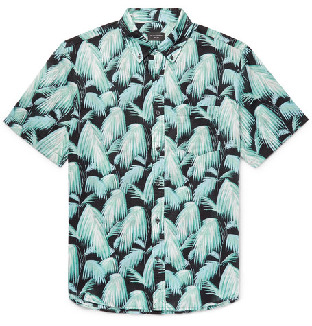 Slim Fit Button Down Collar Palm Print Cotton Shirt by Club Monaco