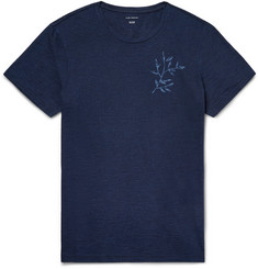 Club Monaco Indigo-Dyed Printed Slub Cotton-Jersey T-Shirt