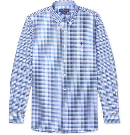 Slim-fit Button-down Collar Checked Cotton-poplin Shirt - Blue