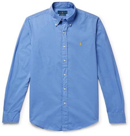 Ralph Lauren Slim-fit Garment-dyed Button-down Collar Cotton-twill Shirt - Navy jEjCl8y5