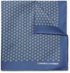 Turnbull & Asser Floral-Print Silk-Twill Pocket Square