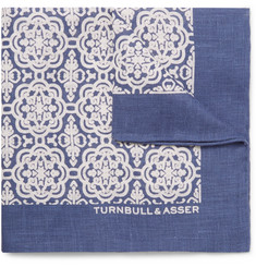 Turnbull & Asser Printed Linen Pocket Square