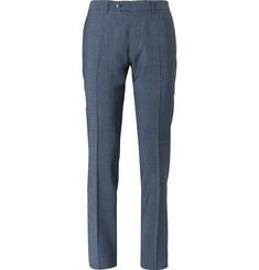 Caruso Navy Slim-Fit Garment-Dyed Wool and Mohair-Blend Suit Trousers