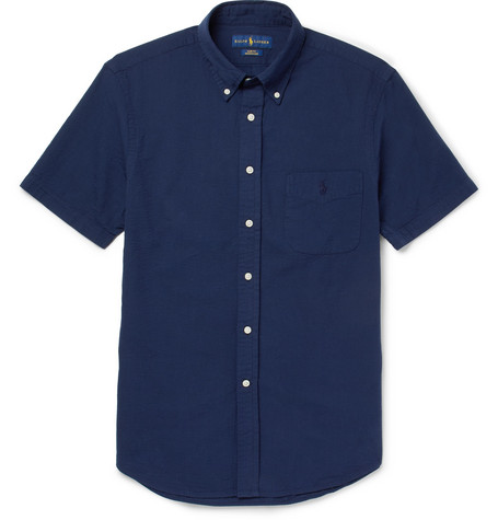 Ralph Lauren Slim-fit Button-down Collar Cotton-seersucker Shirt - Navy CJ92A