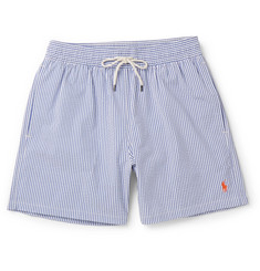 Polo Ralph Lauren - Mid-Length Striped Cotton-Blend Seersucker Swim Shorts
