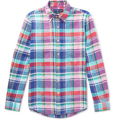 Polo Ralph Lauren Slim-Fit Button-Down Collar Checked Linen Shirt