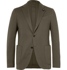 Lardini Olive Slim-Fit Unstructured Cotton Blazer