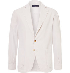 Lardini Beige Unstructured Striped Cotton-Seersucker Blazer