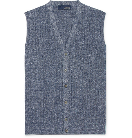 Lardini Ribbed MÉlange Cotton And Linen-blend Vest In Blue