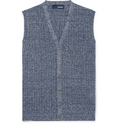 Lardini - Ribbed Mélange Cotton and Linen-Blend Vest