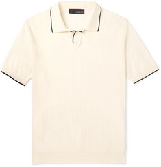 Lardini Slim-Fit Contrast-Tipped Knitted Cotton Polo Shirt