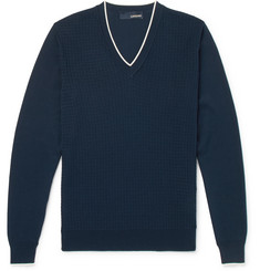 Lardini Slim-Fit Contrast-Tipped Textured-Knit Cotton Sweater