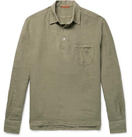 Barena Venezia Slub Linen Shirt In Army Green