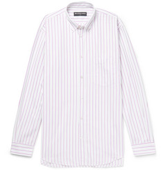 Balenciaga Oversized Button-Down Collar Striped Cotton-Poplin Shirt