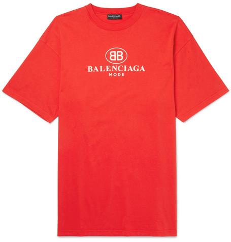 Balenciaga Printed Cotton Jersey T Shirt Red