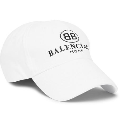 Balenciaga Embroidered Cotton-Twill Baseball Cap In White ... 3fcfdc63342a