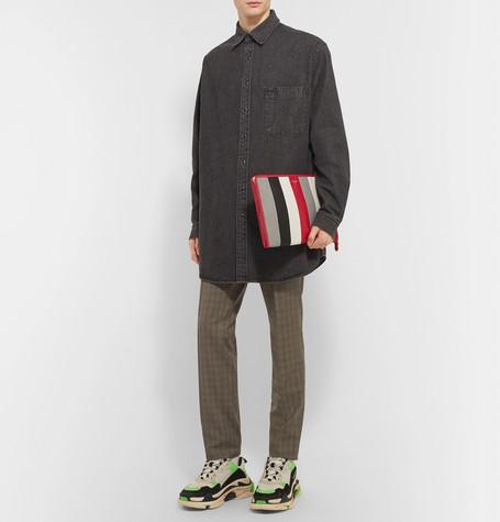 Bazar Striped Textured Leather Pouch by Balenciaga