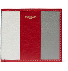 Balenciaga Bazar Striped Textured-Leather Billfold Wallet