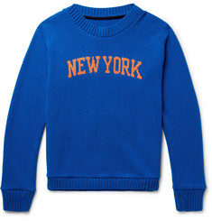 The Elder Statesman + NBA New York Knicks Intarsia Cashmere Sweater